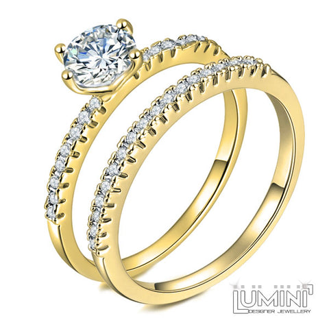 Lumini Diamos AD: Duo American Diamond Yellow Gold Engagement Wedding Ring Set