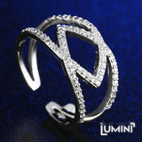 Lumini Diamos AD: Entwined American Diamond Platinum Adjustable Ring
