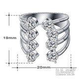 Lumini Diamos AD Fountain American Diamond Platinum Adjustable Ring