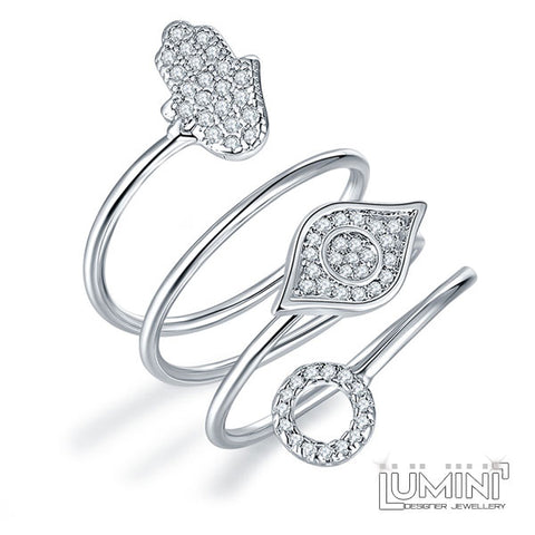 Lumini Diamos AD: Hamsa Spiral American Diamond Platinum Adjustable Ring
