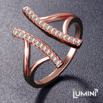 Lumini Diamos AD: Pillars American Diamond Rose Gold Adjustable Ring