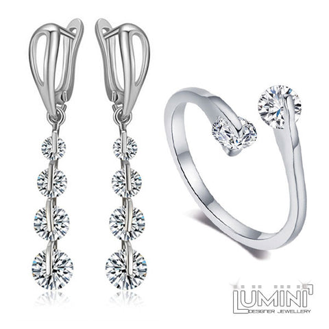 Lumini Diamos AD Set: Dew Drop American Diamond Platinum Drop Earrings & Matching Adjustable Ring