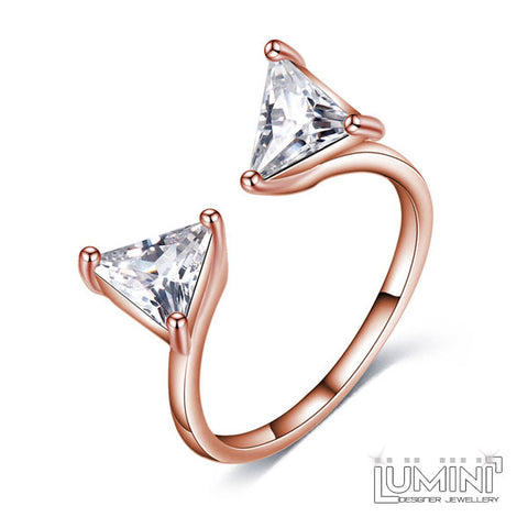 Lumini Diamos AD: Wings American Diamond Rose Gold Adjustable Ring