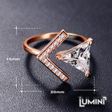 Lumini Diamos AD: Arrows American Diamond Rose Gold Adjustable Ring