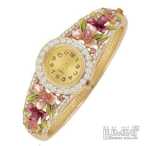 Lumini Floral AD Yellow Gold Bangle Watch