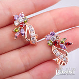 Lumini Flowers Bouquet Rose Gold Earrings