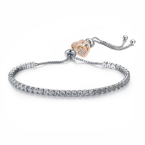 Lumini Golden Heart Charm Diamond Strand Bracelet
