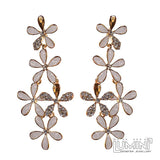 Lumini Golden White Floating Flower Petals Dangler Earrings
