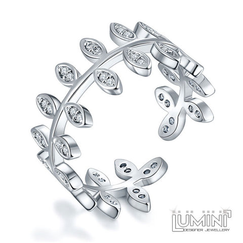 Lumini Diamos AD: Twig American Diamond Platinum Adjustable Ring