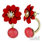 Lumini Lotus Maroon Flower Double Sided Stud Earrings