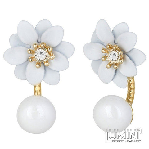 Lumini Lotus White Flower Double Sided Stud Earrings