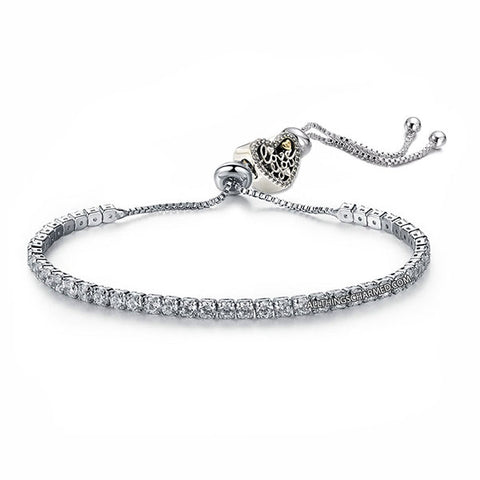 Lumini Love You Heart Charm Diamond Strand Bracelet