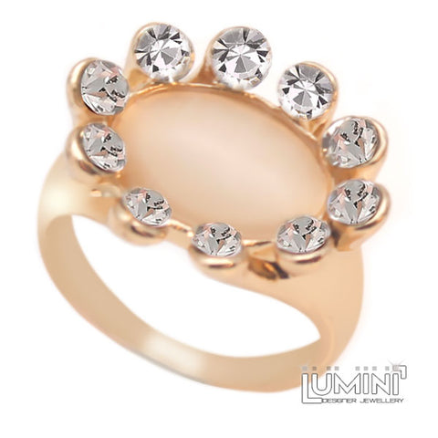 Lumini Mona Lisa Opal Sunflower Rose Gold Cocktail Ring