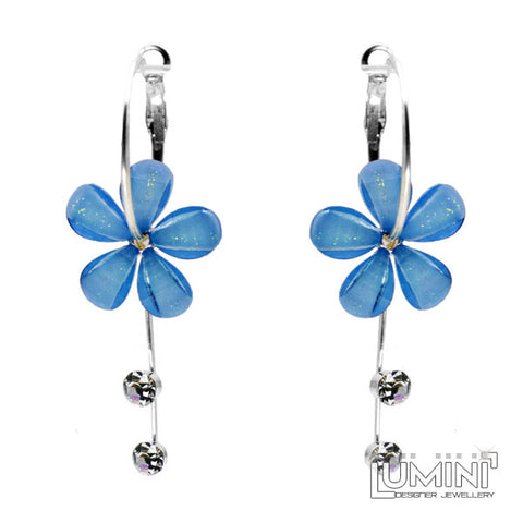 Lumini Monsoon Fling Blue Forget-Me-Not Flower Hoop Dangler Earrings