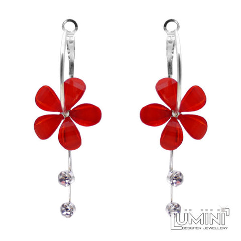 Lumini Monsoon Fling Red Poppy Flower Hoop Dangler Earrings