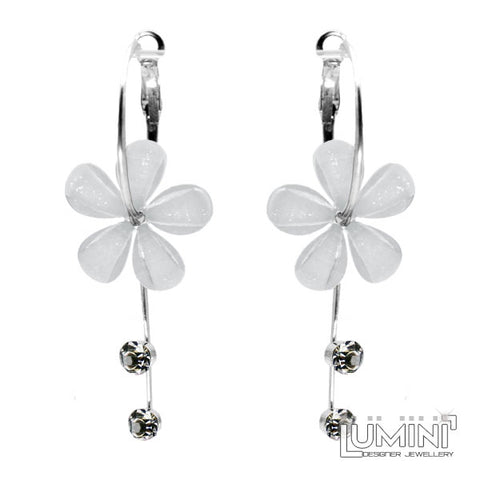 Lumini Monsoon Fling White Orchid Flower Hoop Dangler Earrings