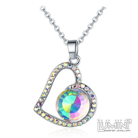 Lumini Pendant: Crystal Rainbow Heart
