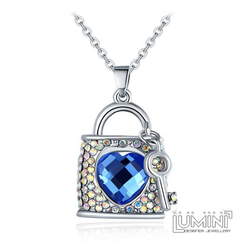 Lumini Pendant: Crystal Lock Heart