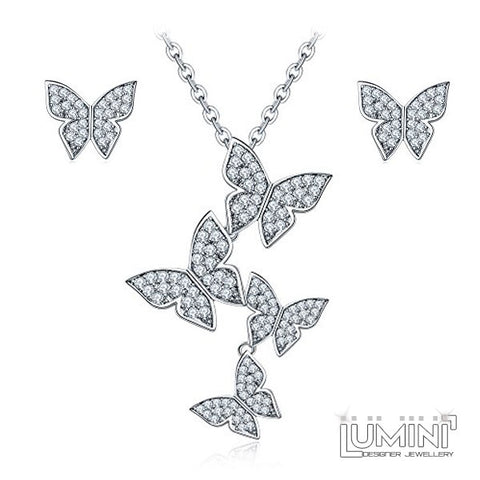 Lumini Pendant and Earrings Set: Platinum American Diamond Butterflies Swarm