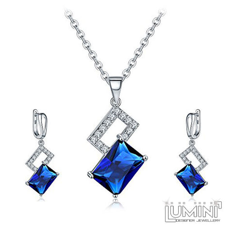 Lumini Pendant and Earrings Set: Platinum Blue Sapphire Baguettes