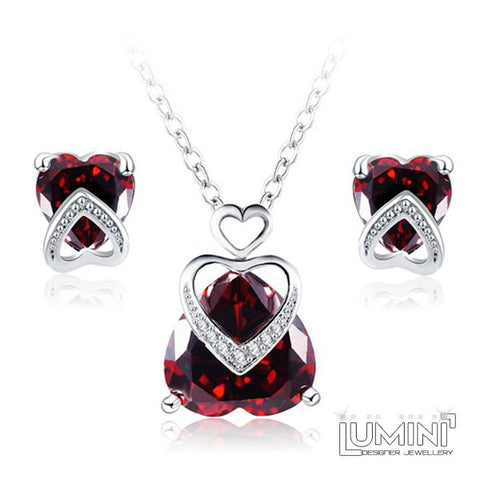 Lumini Diamos AD: Burning Heart American Diamond Platinum Pendant and Earrings Set