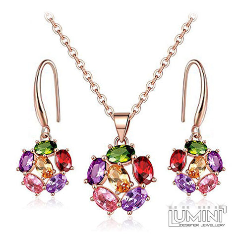Lumini Pendant and Earrings Set: Rose Gold Crystal Rosette