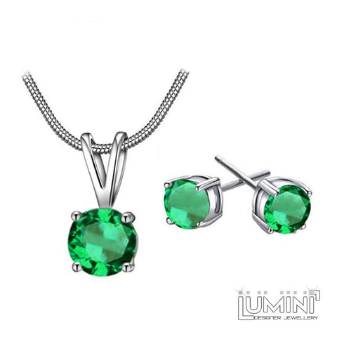 Lumini Pendant and Earrings Set: Spring Leaf Solitaire