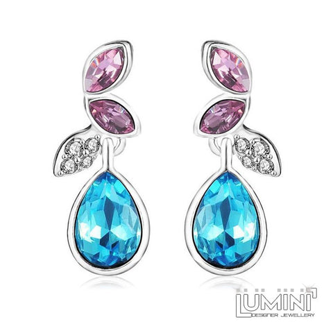 Lumini Pink & Blue Crystal Angel Wings Platinum Plated Dangler Earrings