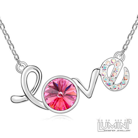 Lumini Pink Love Charm Swarovski Elements Platinum Plated Pendant