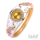 Lumini Pink Peacocks Crystals Yellow Gold Bangle Watch