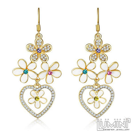 Lumini Princess Heart Golden Dangler Earrings