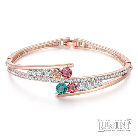Lumini Rainbow Rose Gold Bracelet Bangle