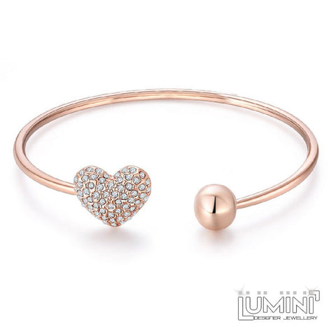 Lumini Diamos Heart Rose Gold Bracelet Bangle