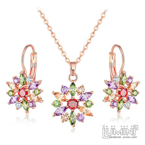 Lumini Rose Gold Pendant and Earrings Set: Northern Star