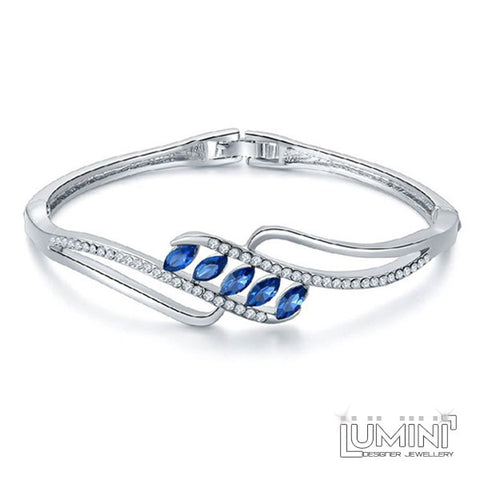 Lumini Sapphire Palm Leaf Silver Bracelet Bangle