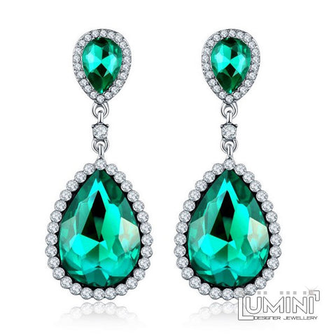 Lumini Shimmering Green Cameos Dangler Earrings