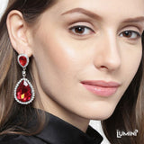 Lumini Shimmering Red Cameos Dangler Earrings