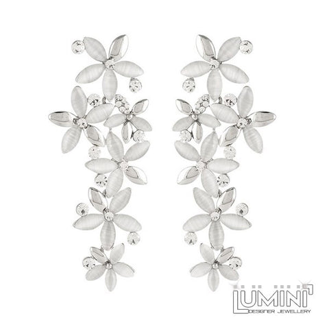 Lumini Silver White Floating Flower Petals Dangler Earrings