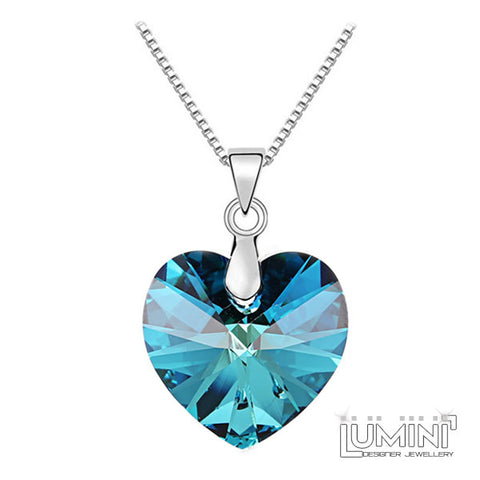 Lumini Swarovski Elements Blue Crystal Heart Love Pendant