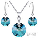 Lumini Swarovski Elements Sky Blue Crystal Circle Pendant & Earrings