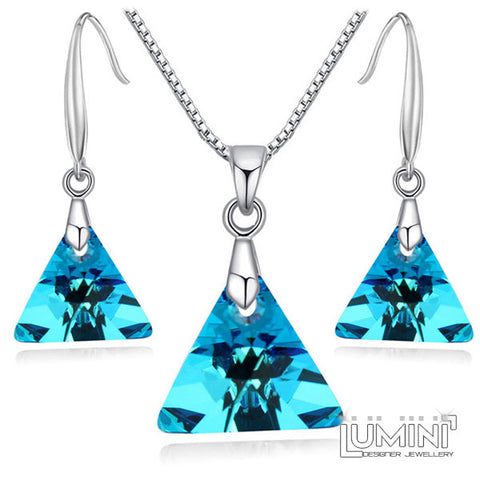 Lumini Swarovski Elements Sky Blue Crystal Triangle Pendant & Earrings