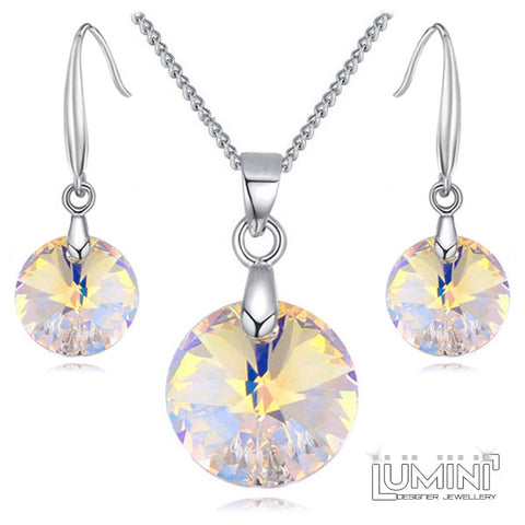 Lumini Swarovski Elements Yellow Honey Amber Crystal Circle Pendant & Earrings