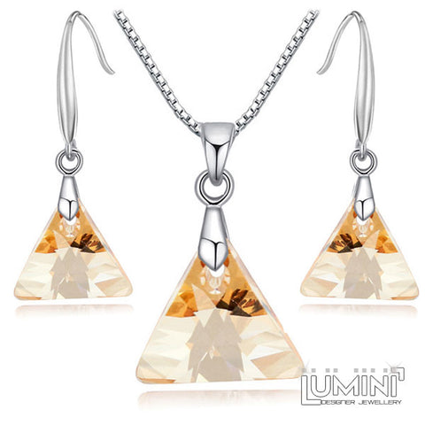 Lumini Swarovski Elements Yellow Honey Amber Crystal Triangle Pendant & Earrings