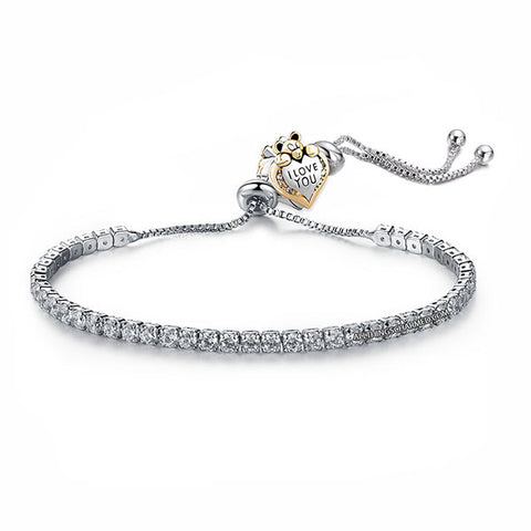 Lumini Teddy Bear Charm Diamond Strand Bracelet