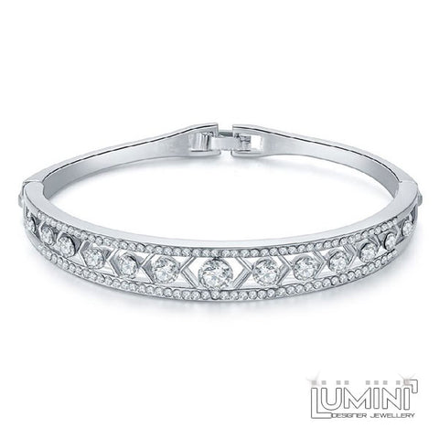 Lumini White Diamond Tiara Silver Bracelet Bangle