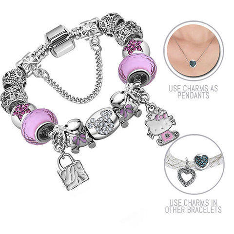 Mickey, Teddy Bears and Hello Kitty in Pink: Silver Pandora Style Bracelet Combo Set with 15 Charms