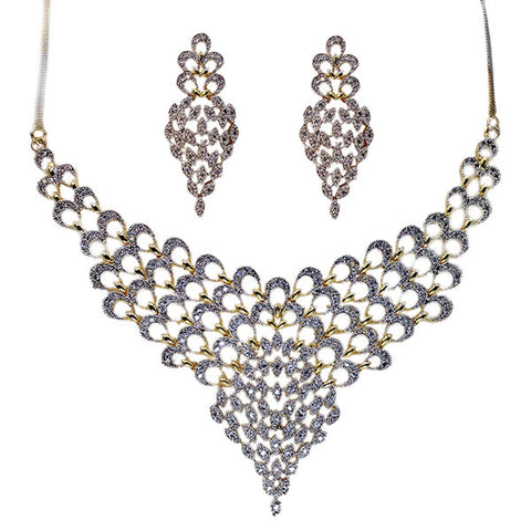 Choker Necklace and Earrings Set: Diamond Golden Lace