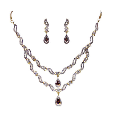 Necklace and Earrings Set: Two Tier Amethyst