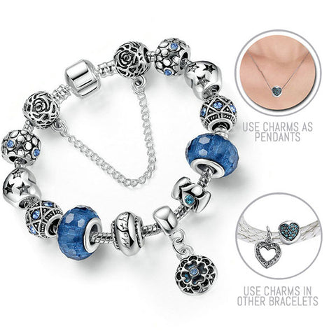 Night Time is My Time: Silver Pandora Style Bracelet Combo Set with 13 Charms