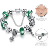 Nutty Best Friends: Silver Pandora Style Bracelet Combo Set with 12 Charms